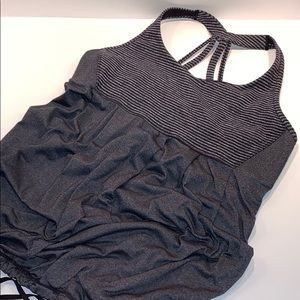 LULULEMON size 10 2-in-1 tank top/bragray black